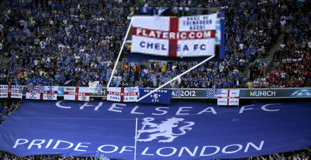 ChelseaFC Fans flags Munich pre game Flat Eric